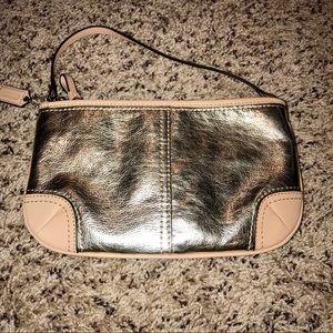 Coach Bags - Coach Wristlet leather EUC gold silver leather
